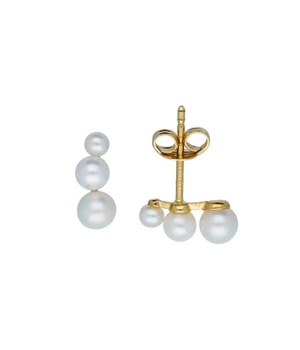 Glow Gouden oorknoppen - 3 zoetwaterparels -