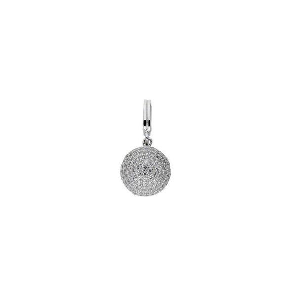 Zilveren hanger - bolletje met zirkonia