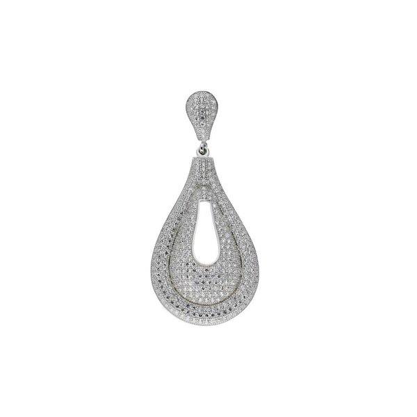 Zilveren hanger - druppel met zirkonia