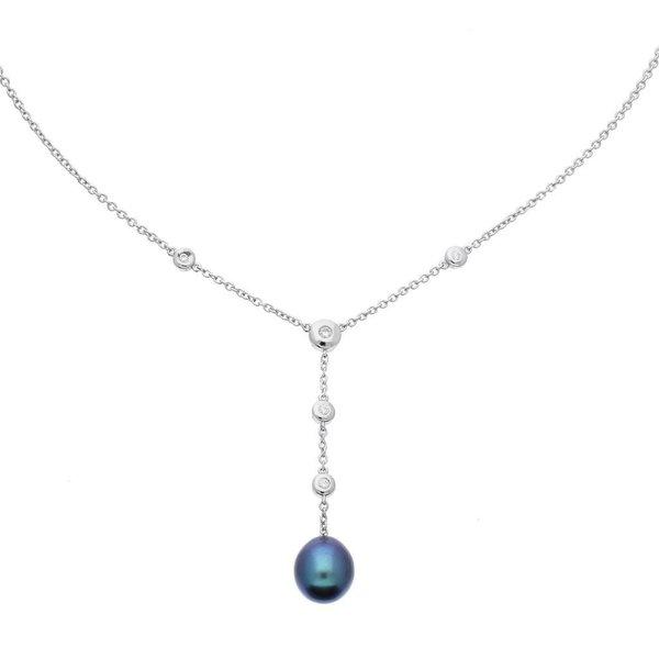 Zilveren collier anker -  zwarte zoetwaterparel