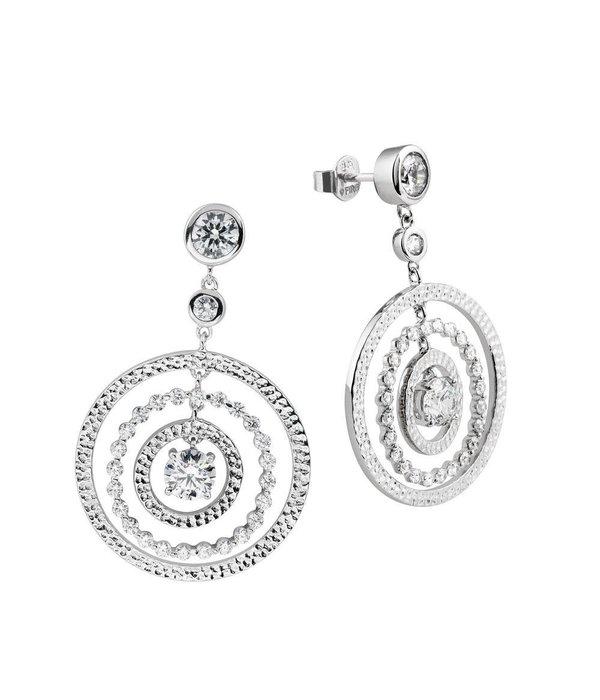 Diamonfire Zilveren oorhangers diamonfire - Rond - cirkels - zirkonia - 25 mm