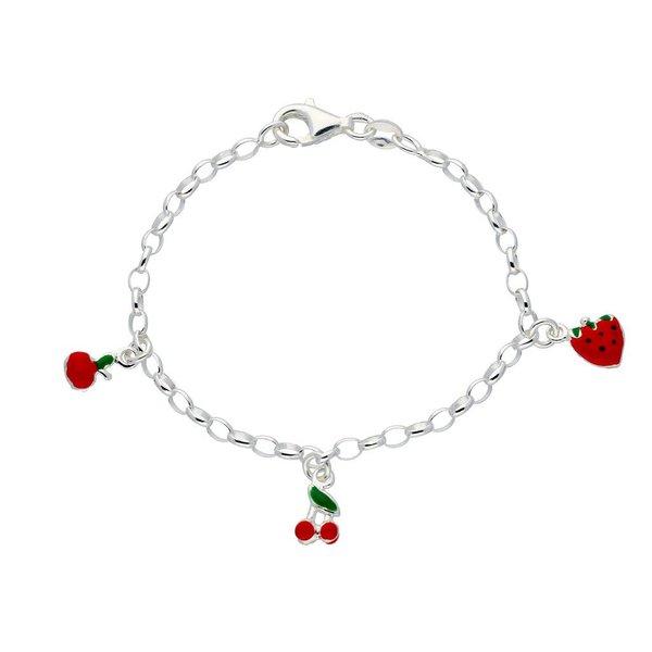 Zilveren bedelarmband - appel, kers en aardbei