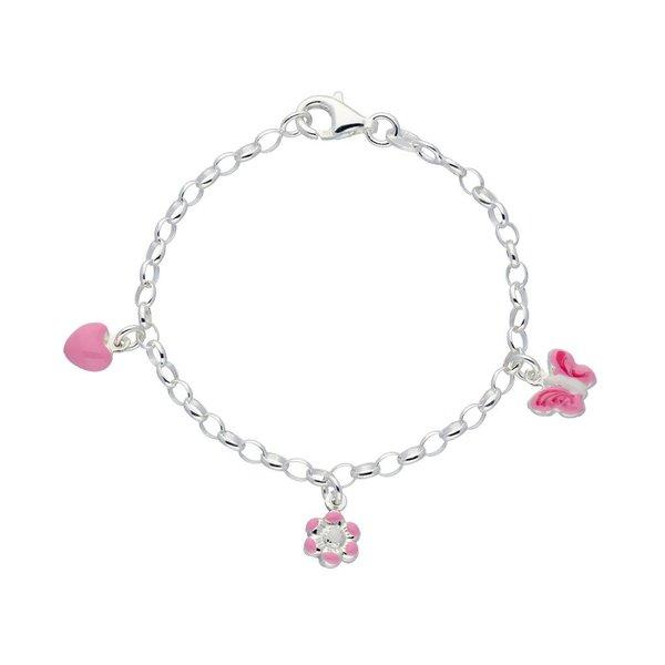Zilveren bedelarmband - hart bloem vlinder - roze