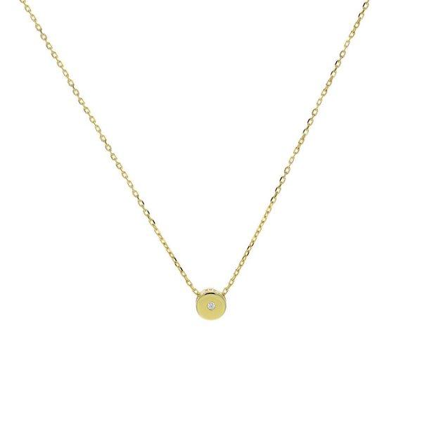 Gouden collier met hanger - rond - zirkonia