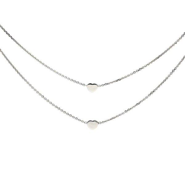 Zilveren multi- layercollier - anker -  harten