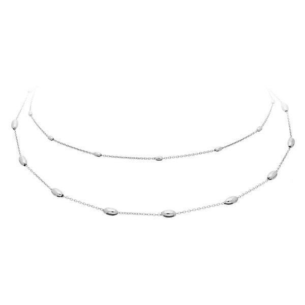 Zilveren schakelcollier - anker - ovale bolletjes
