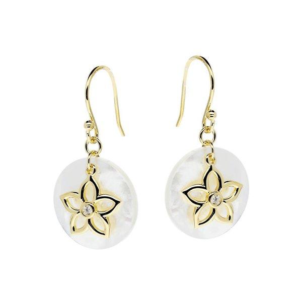 Zilveren gold-plated oorhangers - bloem parelmoer