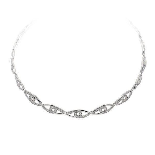 Zilveren fantasiecollier elegance
