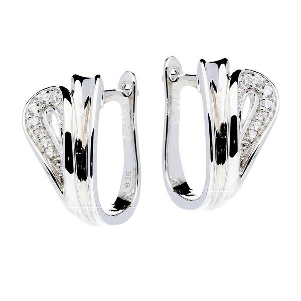 Zilveren klapcreolen - zirkonia - 10 x 18 mm