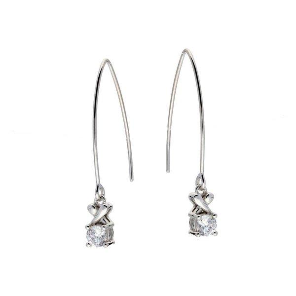 Zilveren gerodineerde hooks - kruis en zirkonia