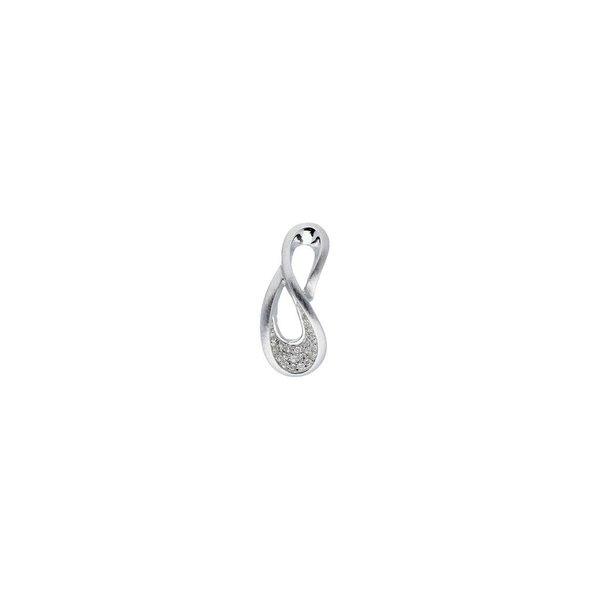Zilveren hanger - mat glanzend - zirkonia