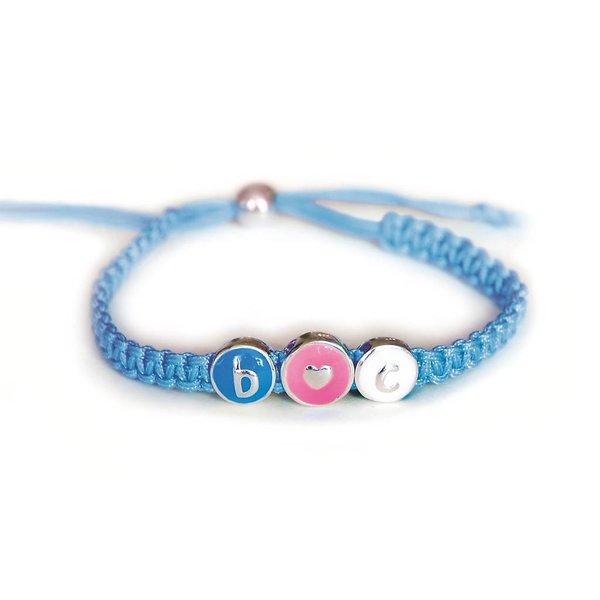 Polyester wikkelarmband - gevlochten 4 mm - blauw