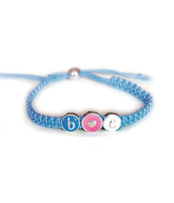 Lilly Polyester wikkelarmband - gevlochten 4 mm - blauw -