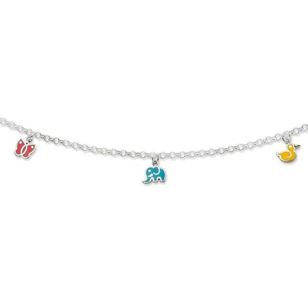 Zilveren bedelcollier - olifant, vlinder en eend