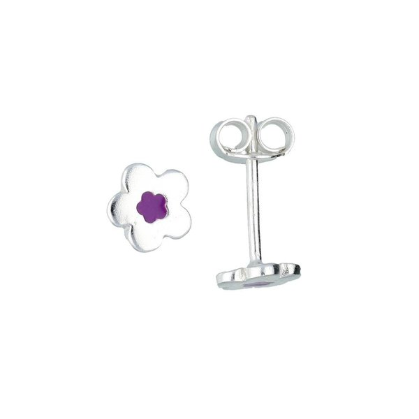 Zilveren kinderoorknopjes - bloem met paars