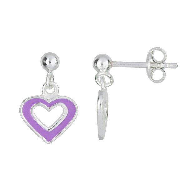 Zilveren kinderoorhangers - paars hart