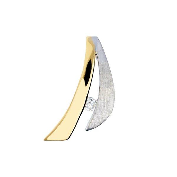 Gouden hanger - bicolor - mat glanzend - diamant