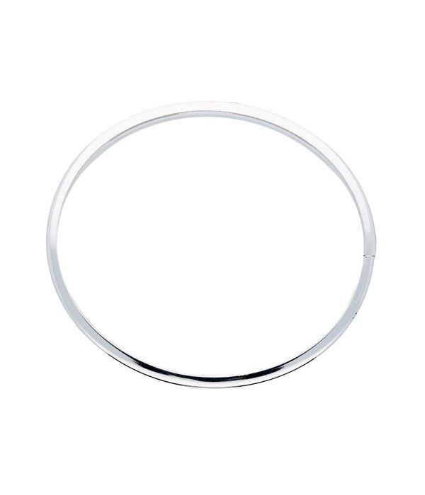 Best basics Zilveren holle slavenband dop - vierkant - 5 mm - 64 mm