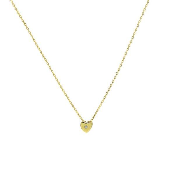Gouden collier met hanger - hart - zirkonia