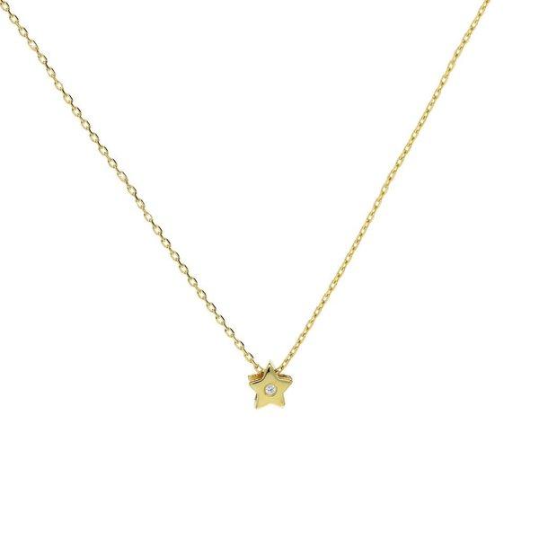 Gouden collier met hanger - ster - zirkonia