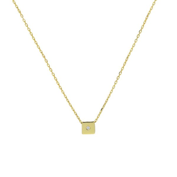 Gouden collier met hanger - vierkant-zirkonia