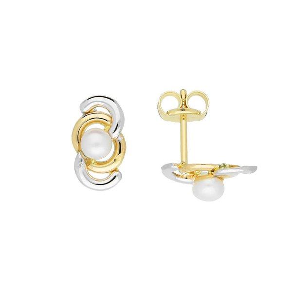 Gouden pareloorknopjes - 3 mm - glad - bicolor