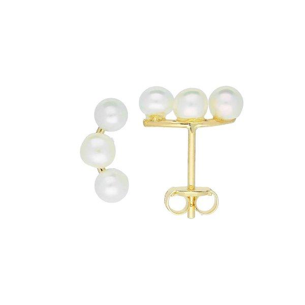 Gouden pareloorknopjes - 3 mm - parels