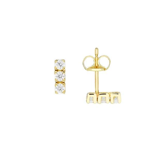 Gouden oorknopjes - zirkonia 3 x - staafje
