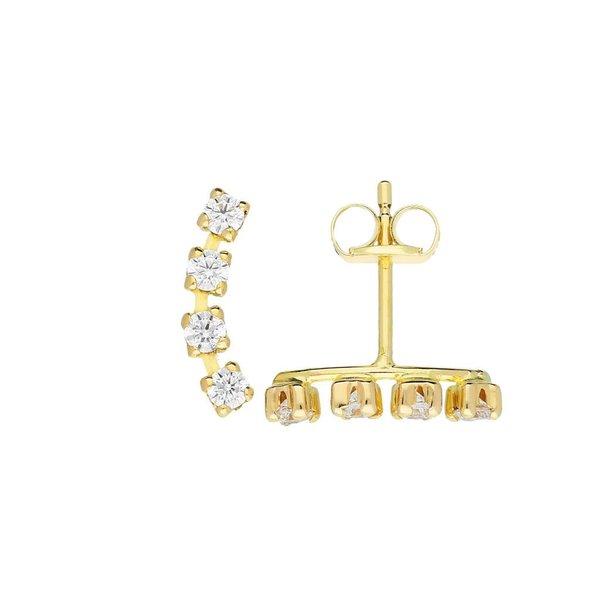 Gouden oorknopjes - zirkonia 4 x - staafje