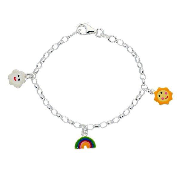 Zilveren bedelarmband - regenboog, zon en wolk