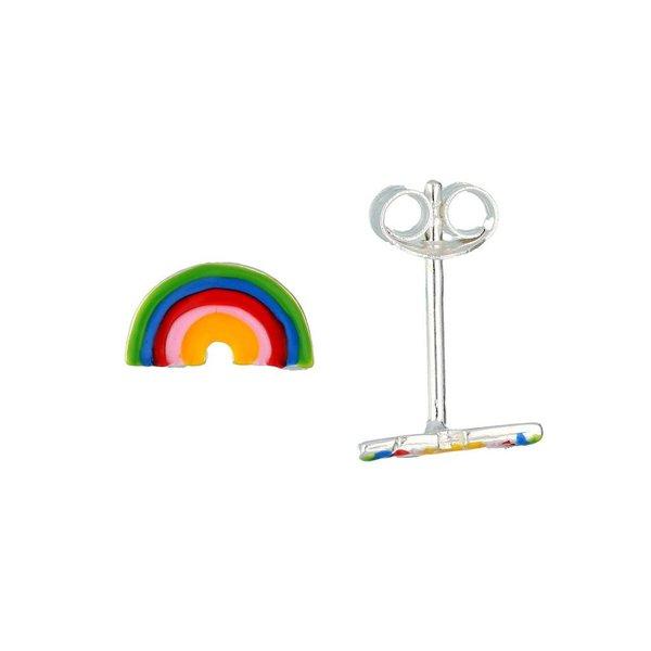 Zilveren kinderoorknopjes - regenboog
