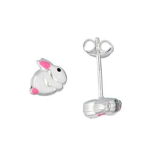 Zilveren kinderoorknopjes - wit konijn