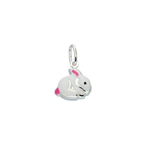 Zilveren kinderhanger - wit met roze konijn