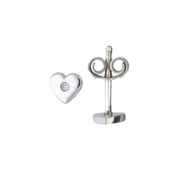 Zilveren oorknoppen - hart - zirkonia