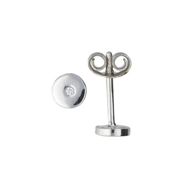 Zilveren oorknoppen - rond - zirkonia