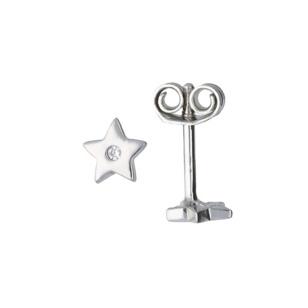 Zilveren oorknoppen - ster - zirkonia