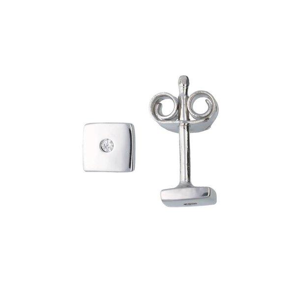 Zilveren oorknoppen - vierkant - zirkonia