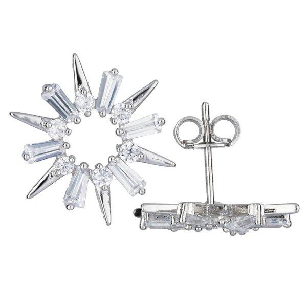 Zilveren symbooloorknopjes - sneeuwvlok - zirkonia