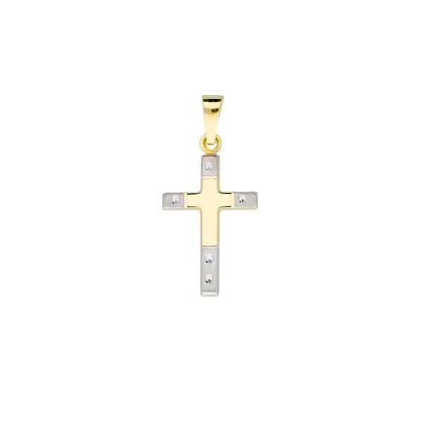 Gouden kruisje - 12 x 21 mm - bicolor