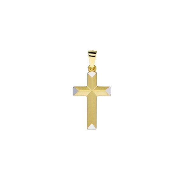 Gouden kruisje - 21 x 12 mm - bicolor
