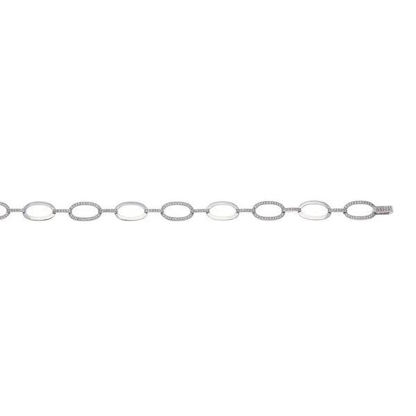 Zilveren tennisarmband - zirkonia pave - 18.5 cm