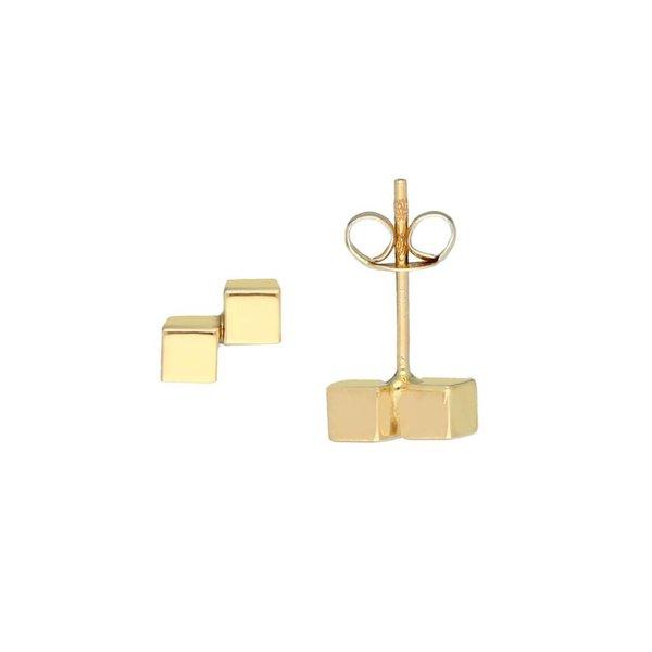 Gouden oorknoppen - 2x kubus