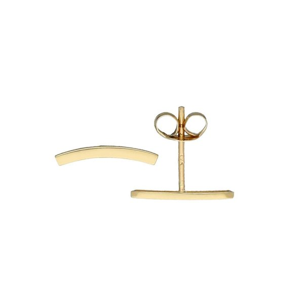 Gouden oorknoppen - balk - krom - glad