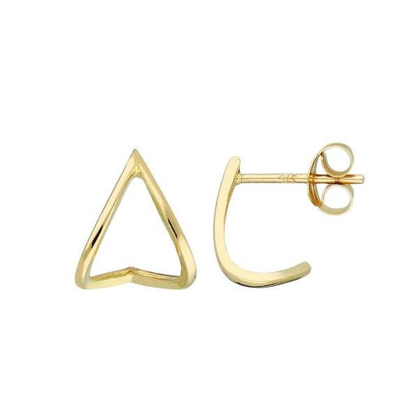 Gouden creolen met steker - driehoek