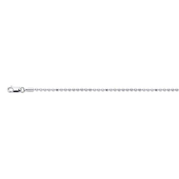 Zilveren lengtecollier - bolletjes glad 1.8mm rh