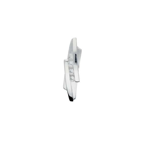 Zilveren hanger - zirkonia - mat glanzend