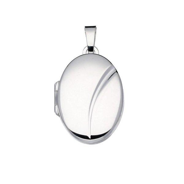 Zilveren medaillon - ovaal - glad