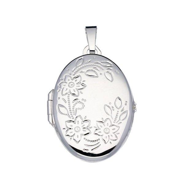 Zilveren medaillon - 31x21mm - ovaal - bloemmotief