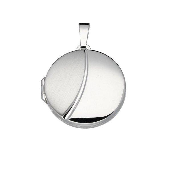 Zilveren medaillon - 24x22mm - rond - mat glanzend