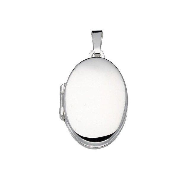 Zilveren medaillon - ovaal - glad - 4 foto's
